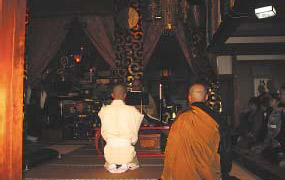 Solemn ceremonies in the Dharma Hall to mark entry into the priesthood.