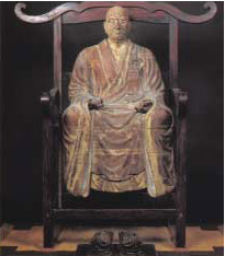 The statue representing Kangan Giin, the temple founder, was made more than 600 years ago.