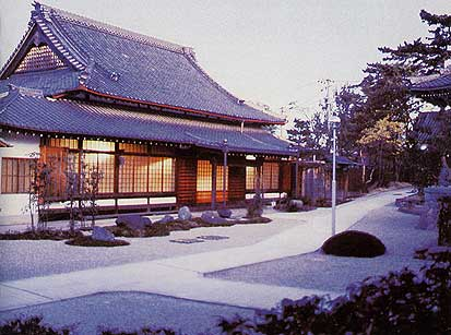 Main Hall and garden at dawn